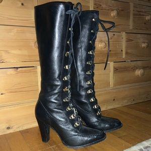 Michael Kors black leather lace up boots